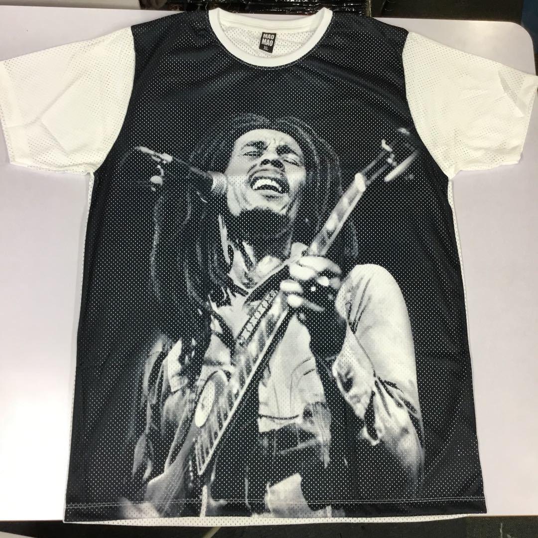 デザインメッシュ半袖Tシャツ XLサイズ ボブマーリー BOB MARLEY ② DBR4C