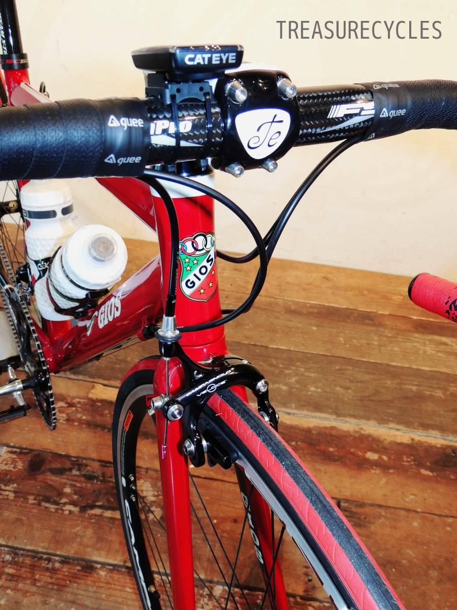 ★新品 希少 GIOS ジオス RED 赤 レッド カンパニョーロ Campagnolo カスタム カーボン アルミニウム ロードバイク 軽量 エアロフレーム_画像5