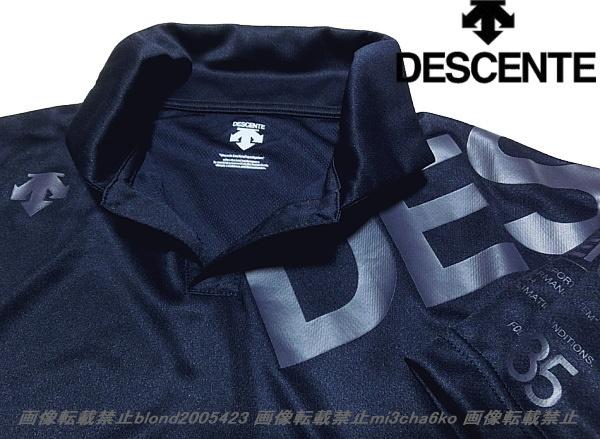 ■新品【DESCENTE】デサント左胸BIGロゴ吸汗DRYさらさら素材ポロ■NV/O(XL)