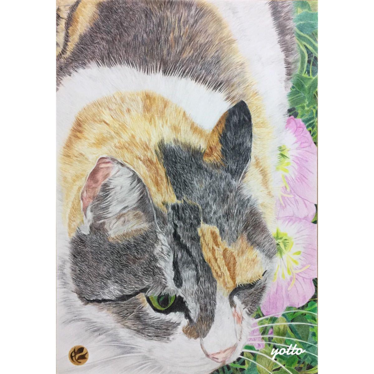 色鉛筆画「 こっちにおいでよ 」A4・額付き◇◆手描き◇原画◆猫◇◆yotto_画像1