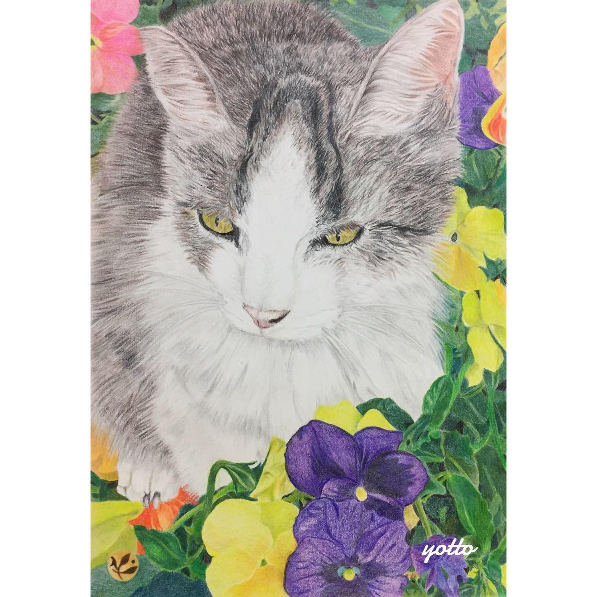 色鉛筆画「 いつまでも 」A4・額付き◇◆手描き◇原画◆猫◇◆yotto_画像1