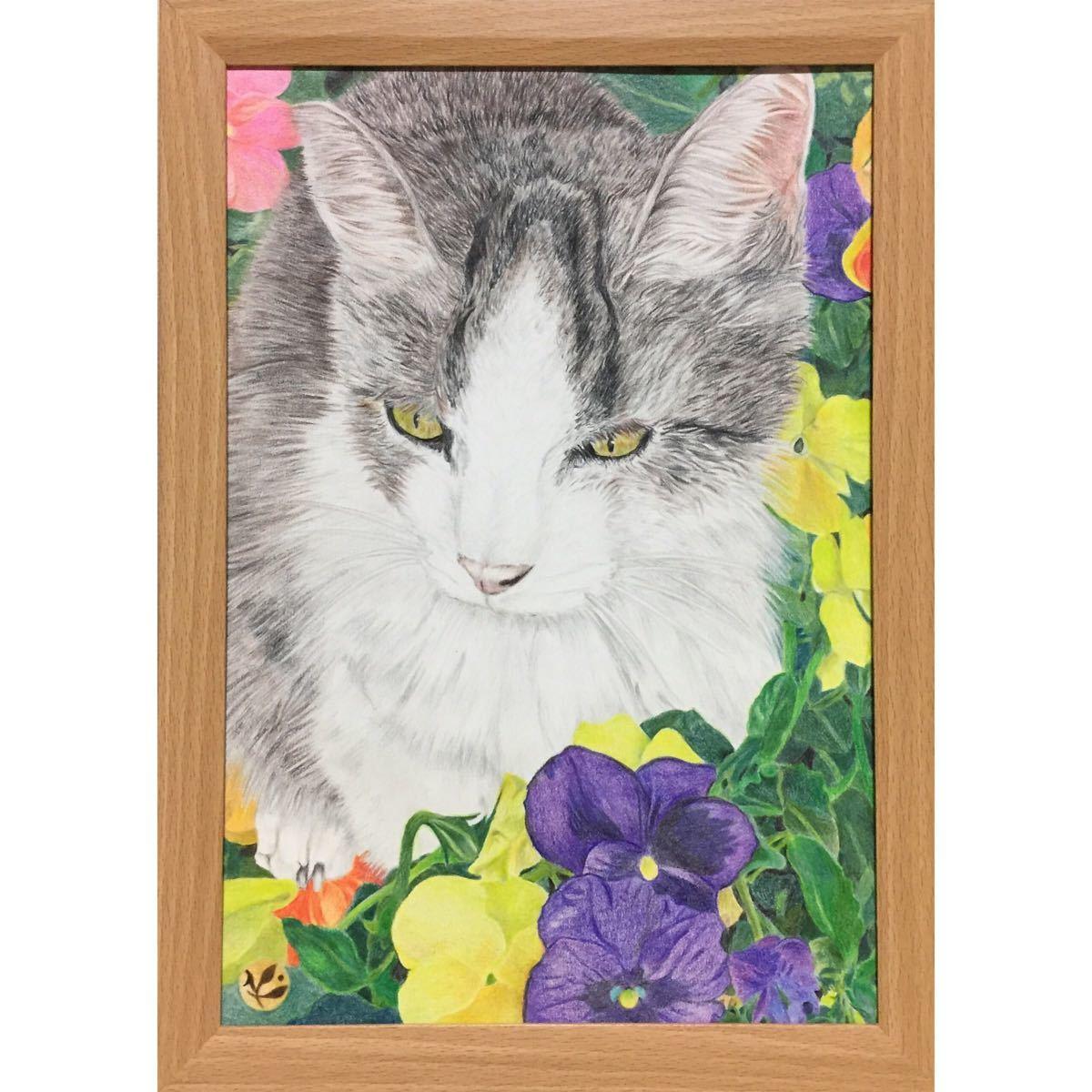 色鉛筆画「 いつまでも 」A4・額付き◇◆手描き◇原画◆猫◇◆yotto_画像2