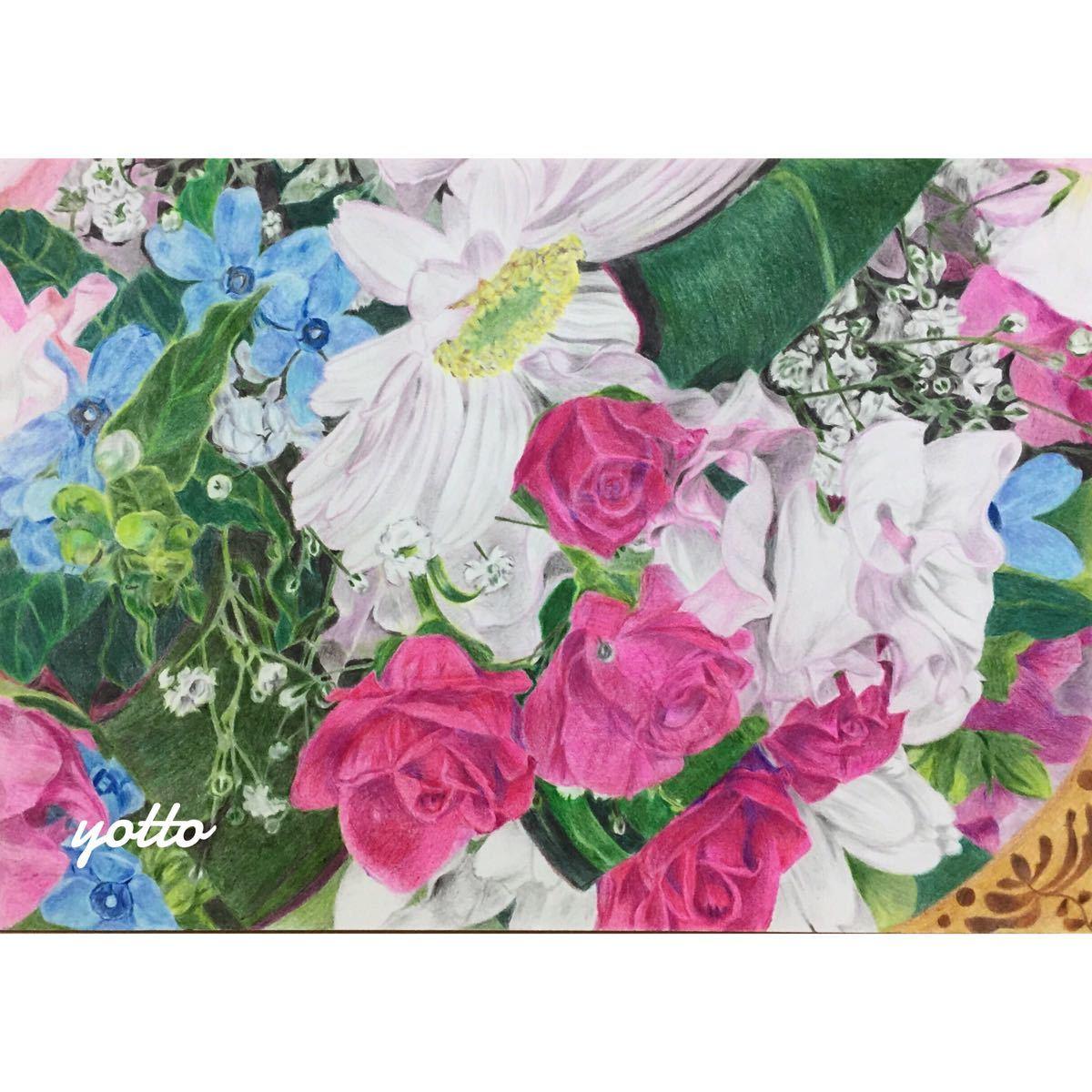 色鉛筆画「 continue … 」A4・額付き◇◆ 手描き◇原画◆花◇◆yotto_画像1