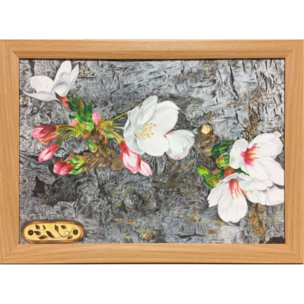 色鉛筆画「 必然 」A4・額付き◇◆手描き◇原画◆桜・花・風景画◇◆yotto_画像2