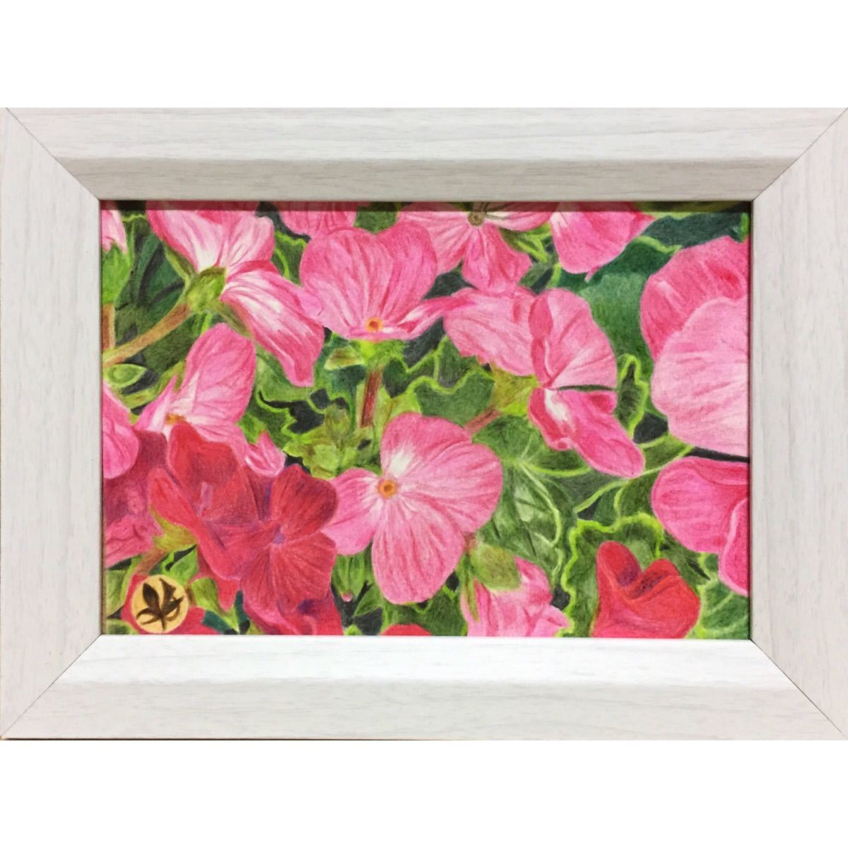 色鉛筆画「 彩《 2 》」ポストカードサイズ・額付き◇◆手描き◇原画◆花・風景画◆yotto_画像2