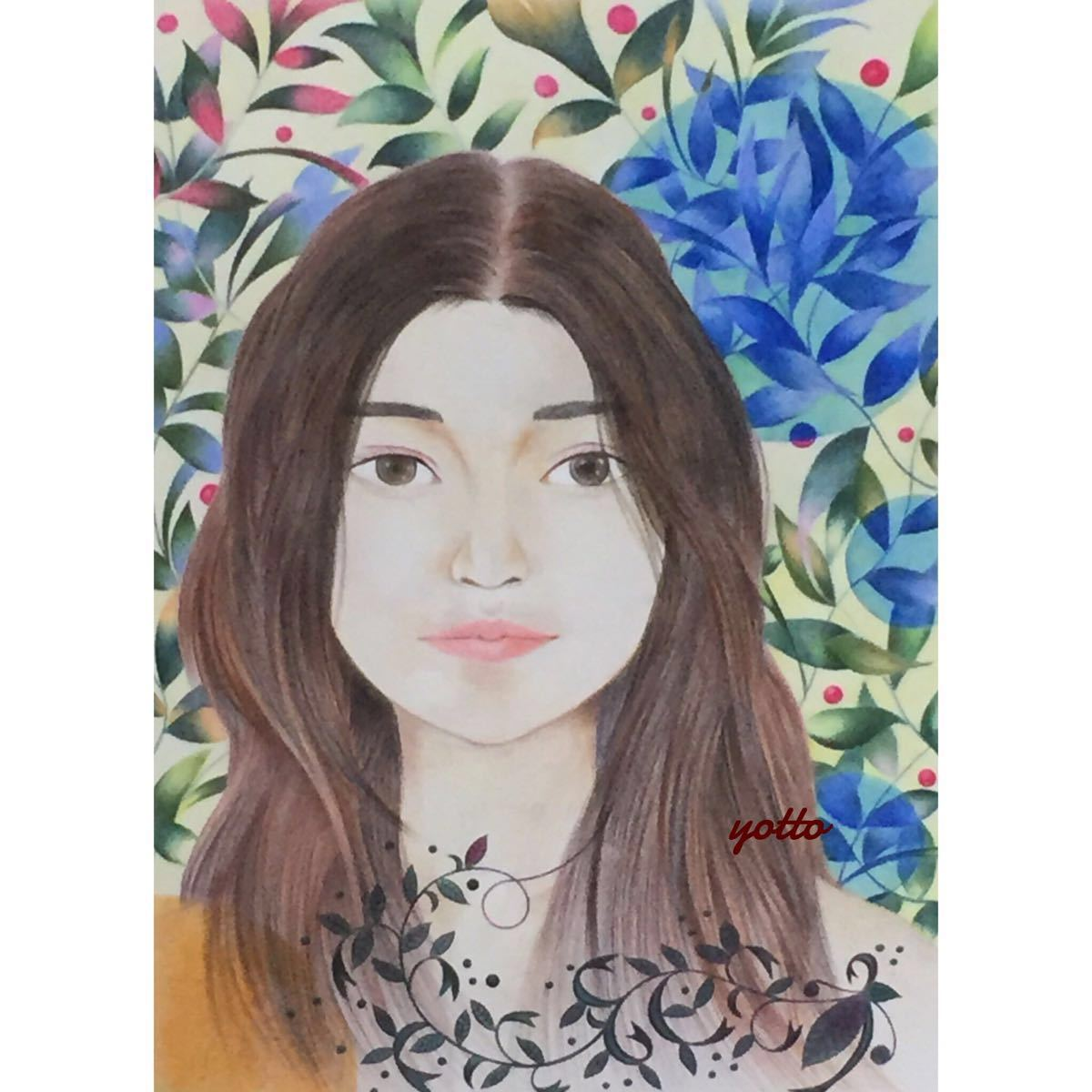 色鉛筆画「 kiss me 」B4・額付き◇◆手描き◇原画◆人物画◇◆yotto_画像1