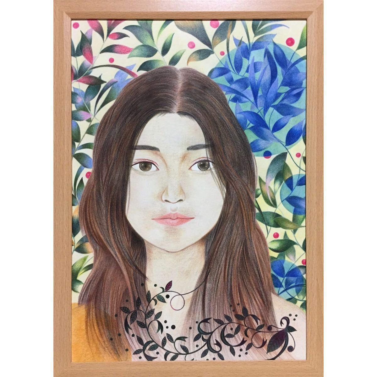 色鉛筆画「 kiss me 」B4・額付き◇◆手描き◇原画◆人物画◇◆yotto_画像2