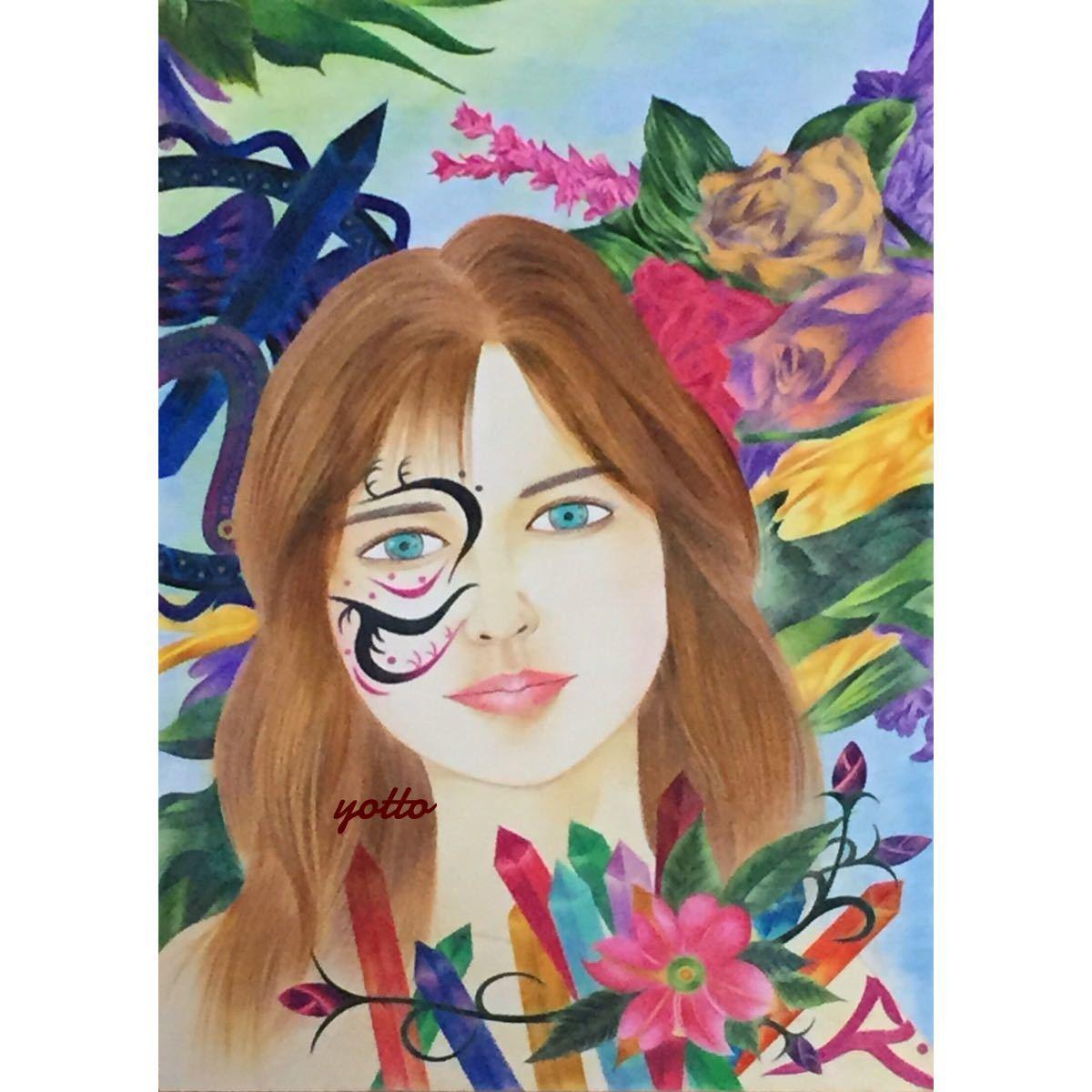 色鉛筆画「 precious 」B4・額付き◇◆手描き◇原画◆人物画◇◆yotto_画像1