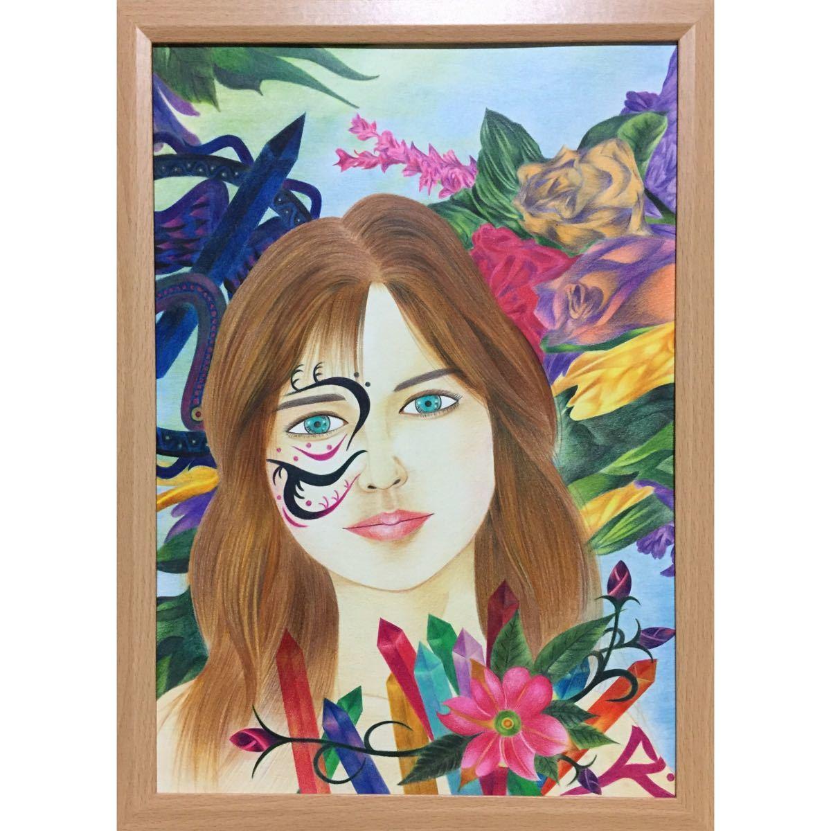 色鉛筆画「 precious 」B4・額付き◇◆手描き◇原画◆人物画◇◆yotto_画像2