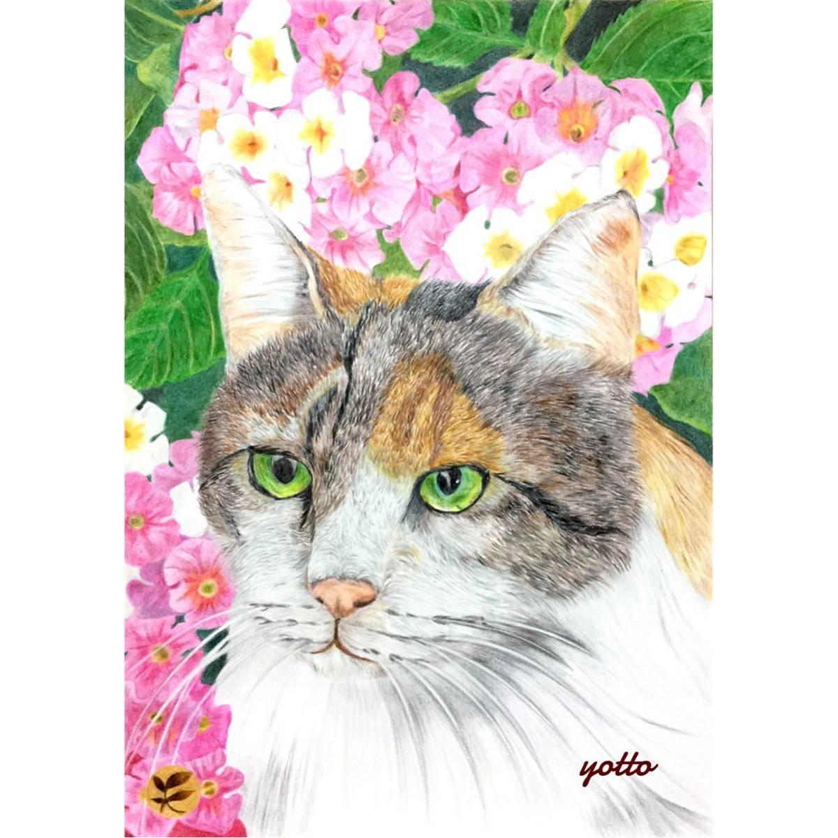 色鉛筆画「 箱庭 」A4・額付き◇◆手描き◇原画◆猫◇◆yotto_画像1