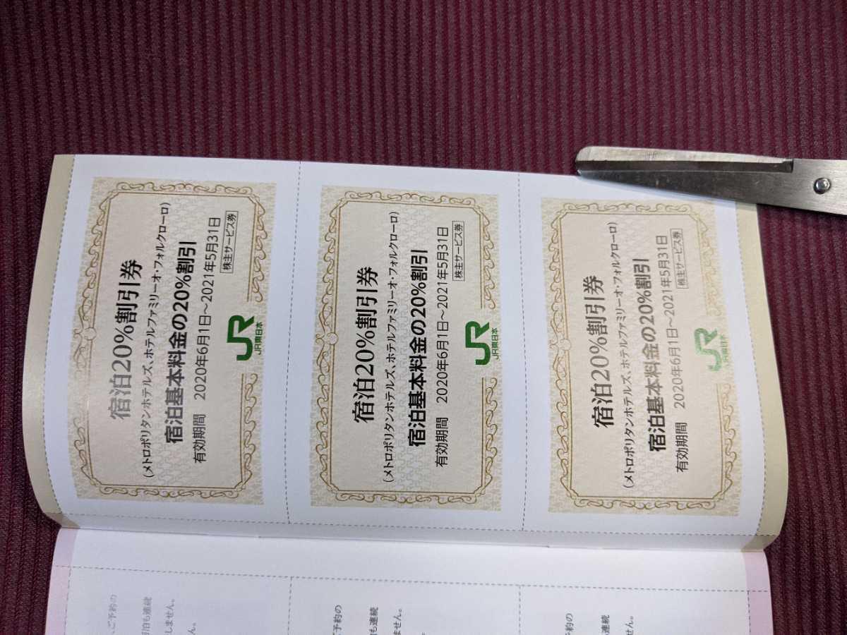 JR東日本 株主優待券 宿泊20%割引券 メトロポリタンホテルズ GOTOトラベルキャンペーン_画像1