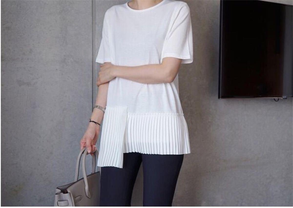 半袖Tシャツ プリーツ シンプル フリル 夏 無地 ホワイト