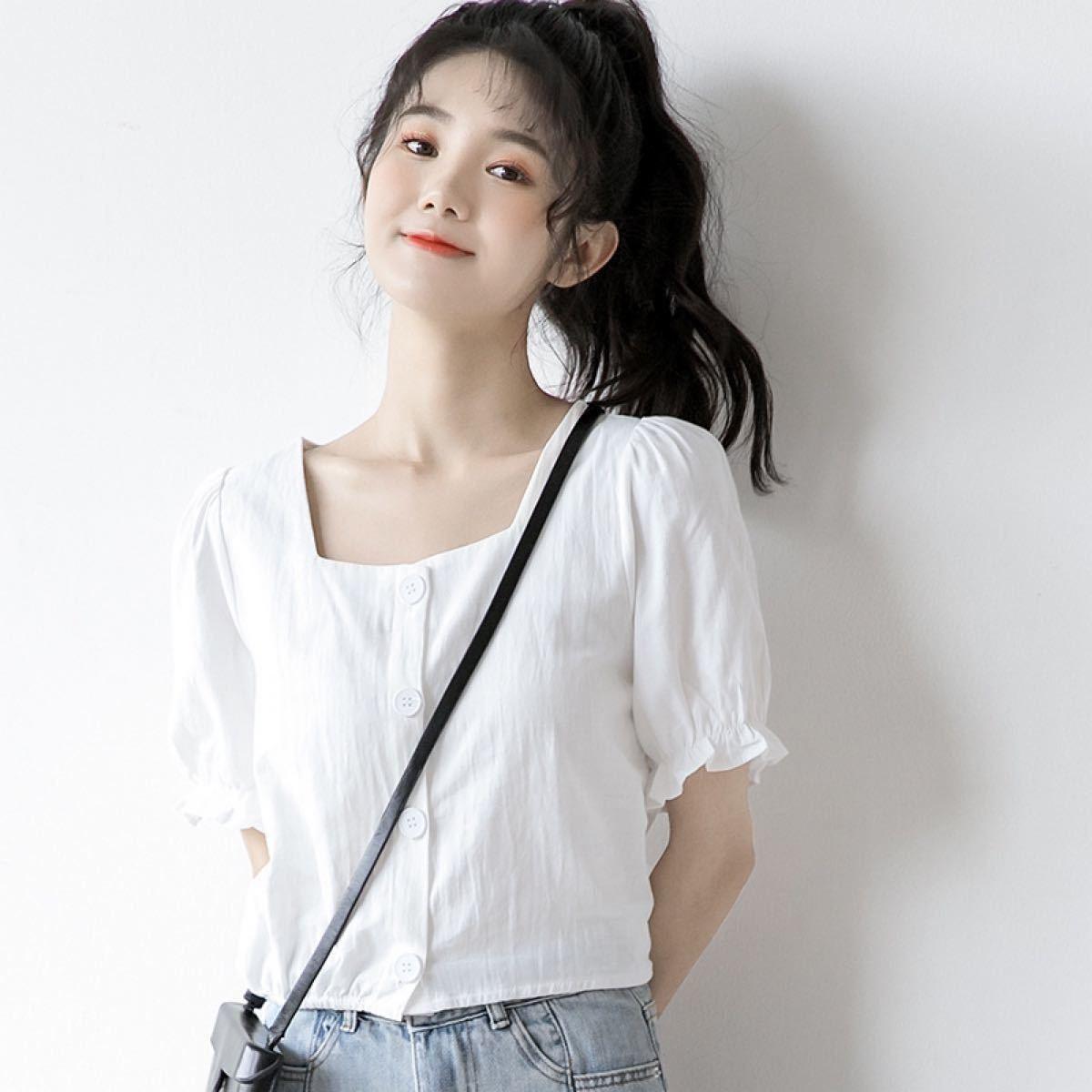 白 white フリル カットソー スクエアネック ブラウス シャツ 半袖 韓国