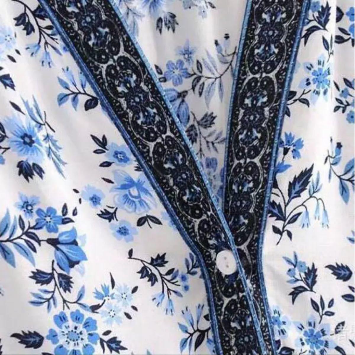 花柄ワンピース ロング シャツワンピ 半袖 マキシ タイムセール週末限定セール