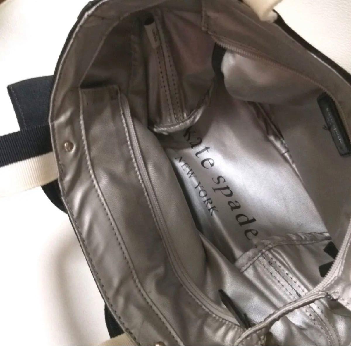 ケイトスペード 白黒 リボン トートバッグ ハンドバッグ 中古 難あり