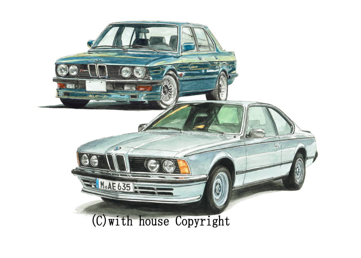 GC-1139 BMW アルピナB9/635csi・GC-1140 アルピナB9/524i限定版画300部 直筆サイン有 額装済●作家 平右ヱ門 希望ナンバーをお選び下さい_BMW アルピナB9 3.5L/BMW 635csi
