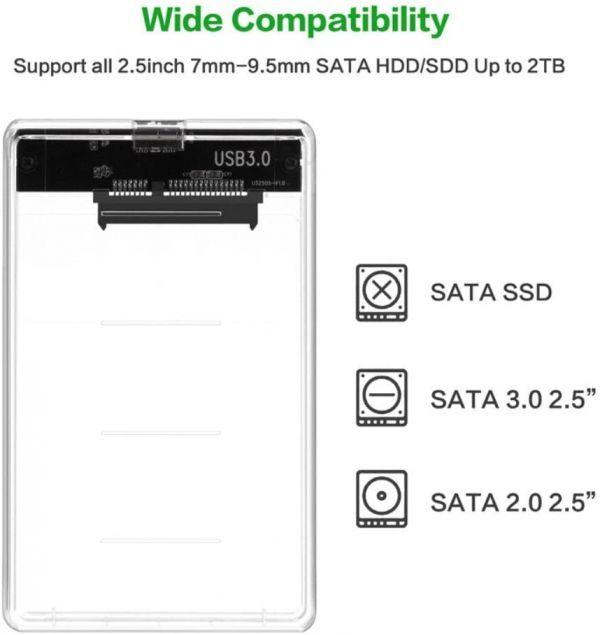 透明な 2.5インチ HDDケース USB 3.0接続 SATA対応 HDD/SSD 外付け ドライブ ケース ネジ&工具不要 簡単着脱 Windows/Mac/Linux等適用_画像4