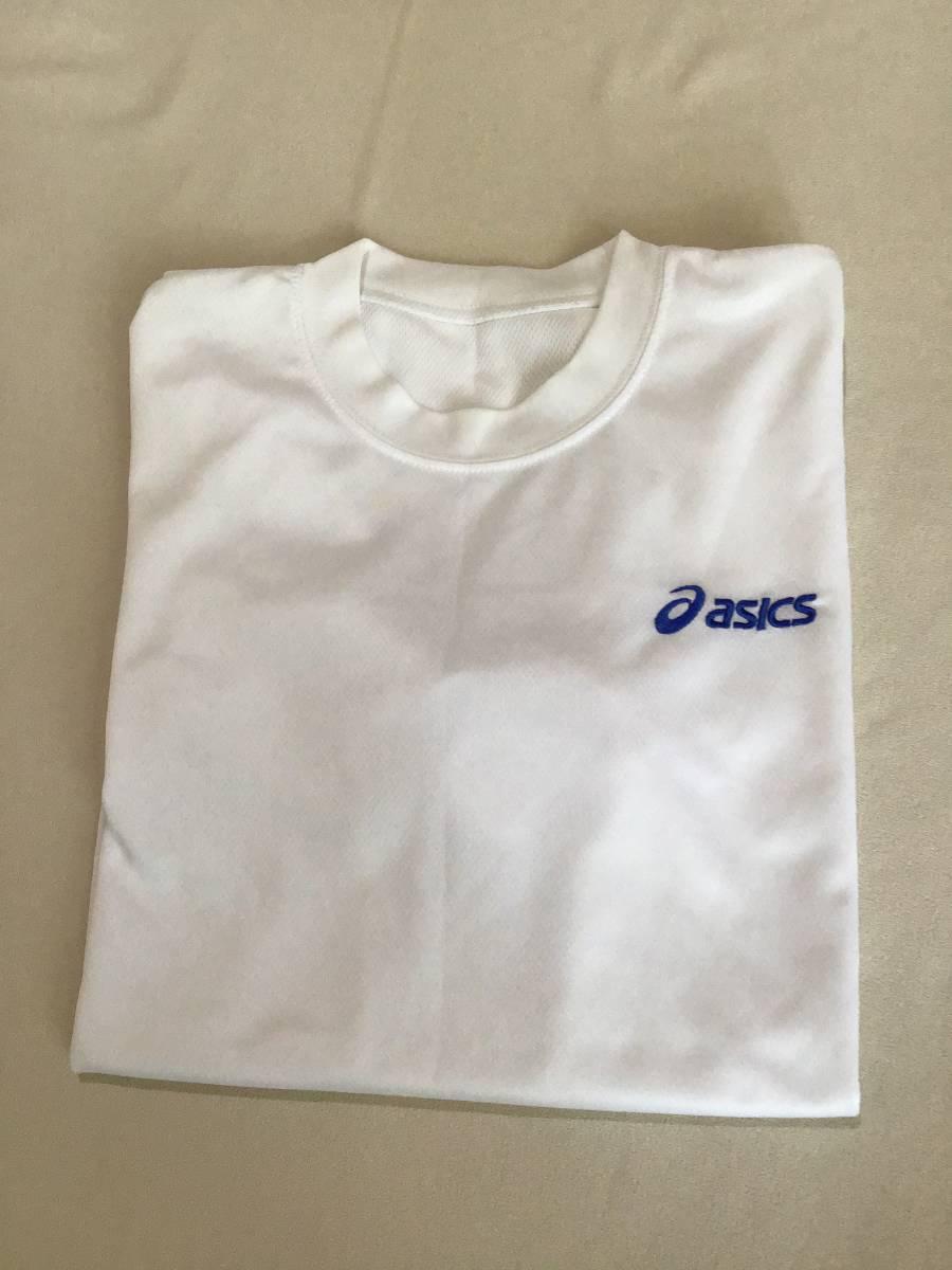 アシックス クールネックシャツ 半袖 M 白 ポリエステル100%_画像1