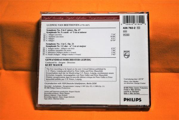 CD PHILIPS 西独・初期・輸入盤☆ ベートーヴェン:交響曲 第5番&第1番 ☆クルト・マズア/ライプツィヒ・ゲヴァントハウス管弦楽団_画像2