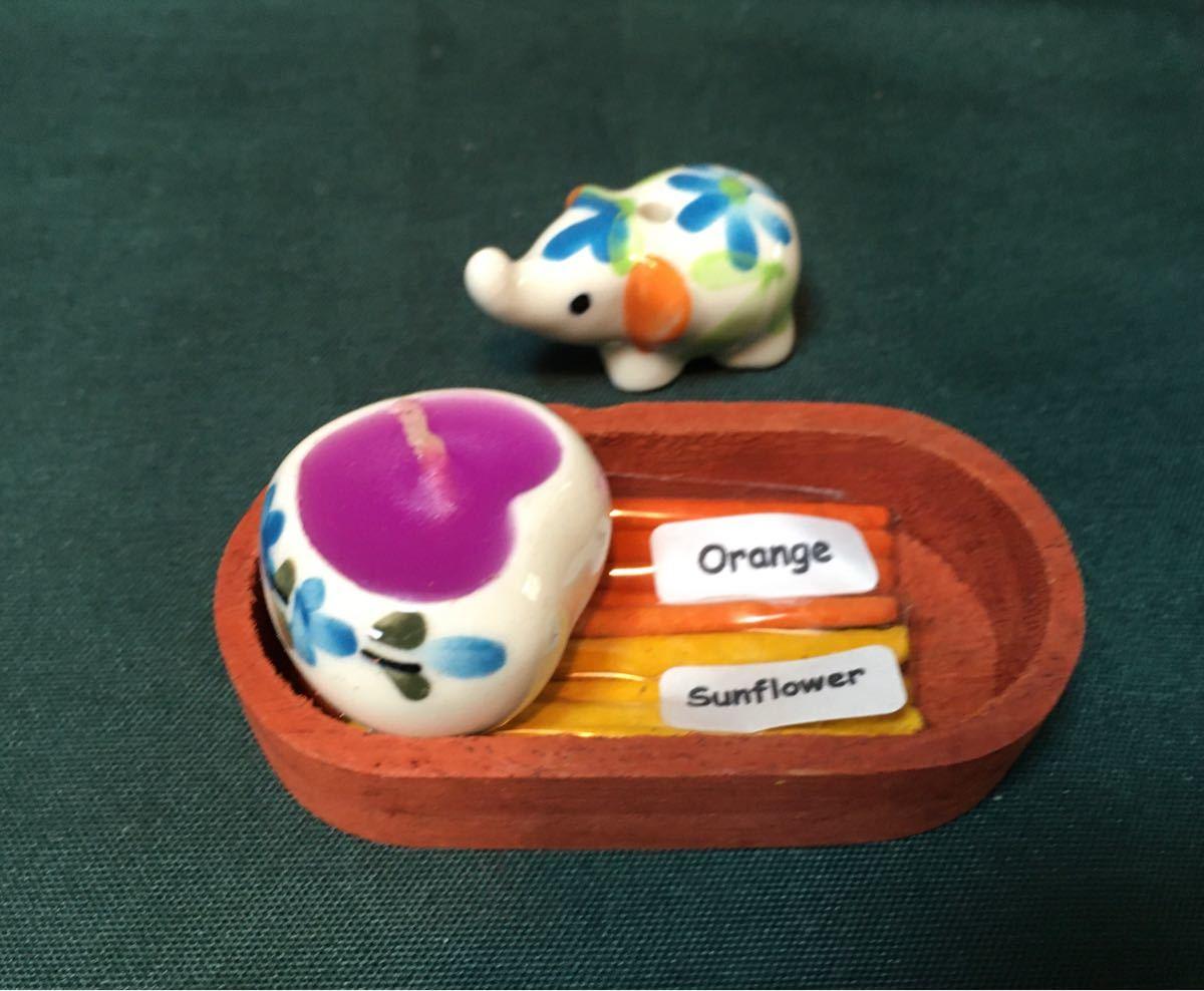 NaRaYa ペンケース ブルーベリー蝋燭 象のオレンジとサンフラワーのお香立て