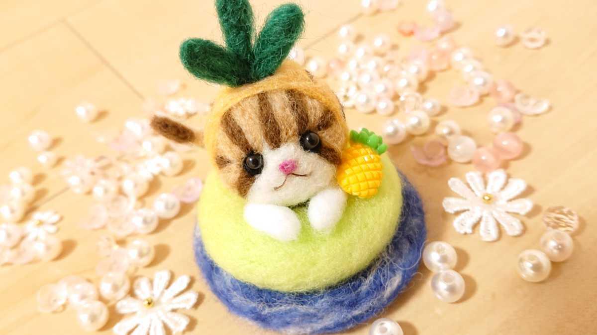 羊毛フェルト パイナップル猫ちゃん.*゜ フルーツ 猫 ハンドメイド ぬいぐるみ 夏 海_画像5