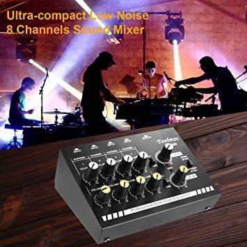 Toolmsc 8チャンネミキサー、ルモノラルステレオオーディオミキサー、CDプレーヤー、MP3プレーヤー、カセットレコーダーに_画像5