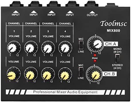 Toolmsc 8チャンネミキサー、ルモノラルステレオオーディオミキサー、CDプレーヤー、MP3プレーヤー、カセットレコーダーに_画像6