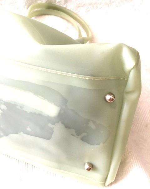 バーキン風ハンドバッグ ビニールバッグ 薄グリーン系 未使用_画像4