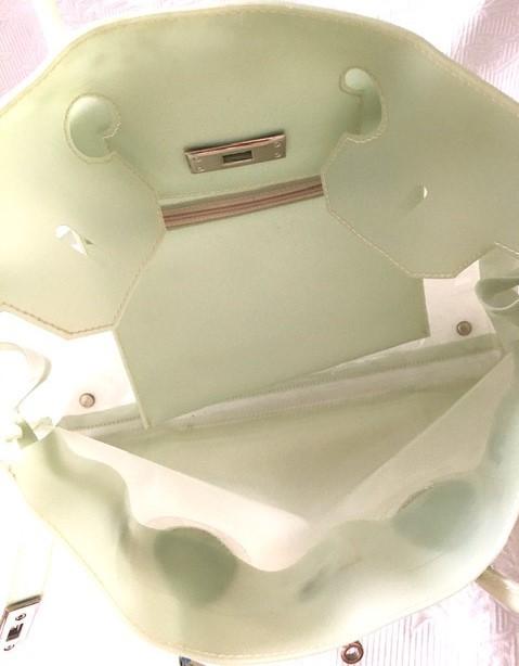 バーキン風ハンドバッグ ビニールバッグ 薄グリーン系 未使用_画像5