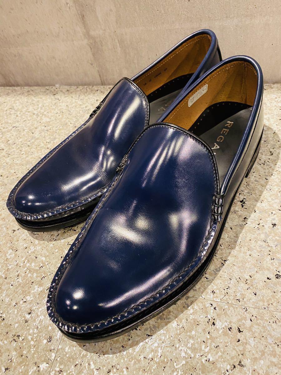 お盆限定!1円スタート!一回のみ使用!新品同様!REGAL リーガル 27.0cm ビジネスシューズ 革靴 ネイビー コブラヴァンプ 高級ローファー_画像3