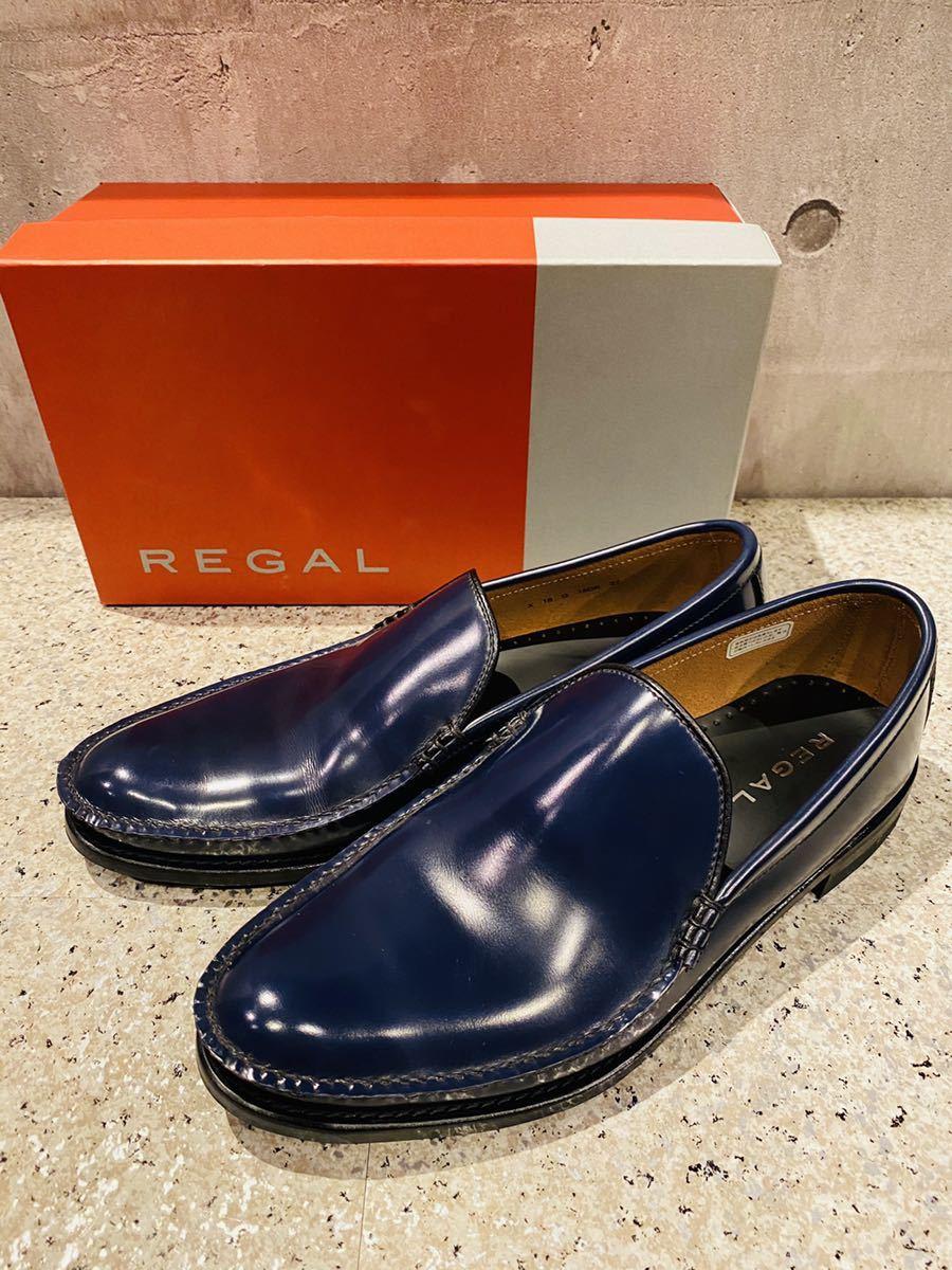 お盆限定!1円スタート!一回のみ使用!新品同様!REGAL リーガル 27.0cm ビジネスシューズ 革靴 ネイビー コブラヴァンプ 高級ローファー_画像1