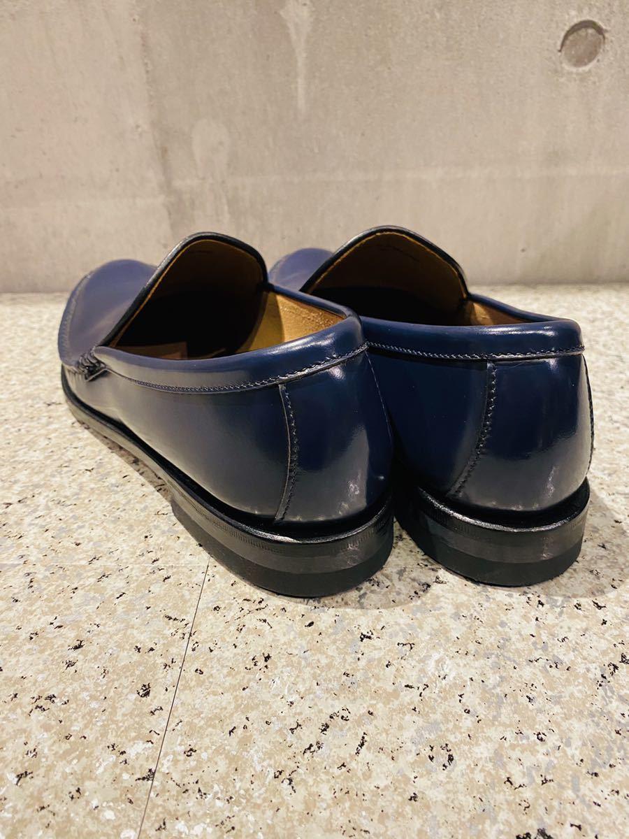 お盆限定!1円スタート!一回のみ使用!新品同様!REGAL リーガル 27.0cm ビジネスシューズ 革靴 ネイビー コブラヴァンプ 高級ローファー_画像4