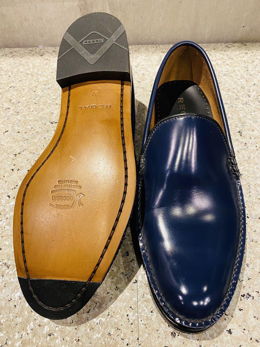 お盆限定!1円スタート!一回のみ使用!新品同様!REGAL リーガル 27.0cm ビジネスシューズ 革靴 ネイビー コブラヴァンプ 高級ローファー_画像8