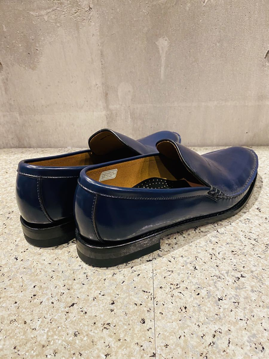 お盆限定!1円スタート!一回のみ使用!新品同様!REGAL リーガル 27.0cm ビジネスシューズ 革靴 ネイビー コブラヴァンプ 高級ローファー_画像5
