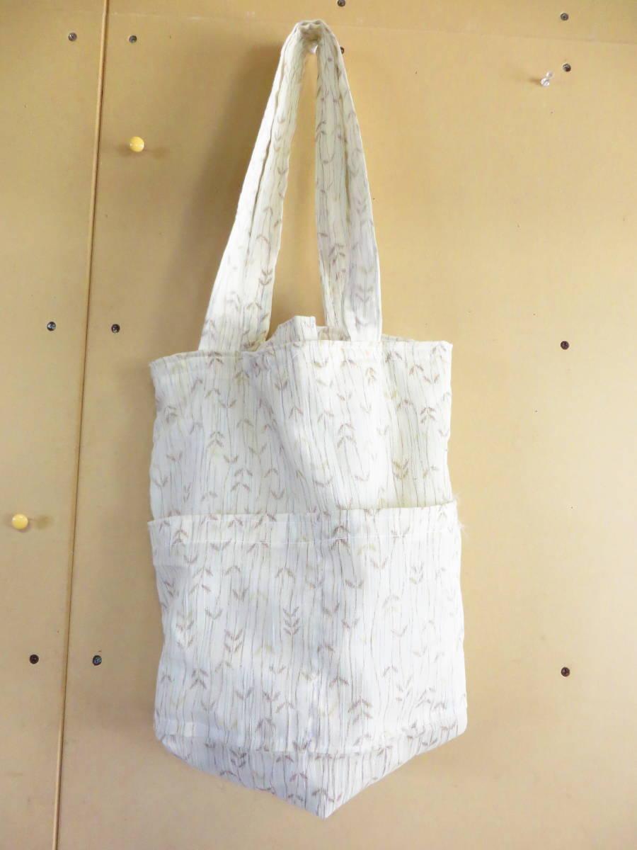 <水風> 着物 リメイク トートバッグ エコバッグ バッグ 買い物バッグ 手提げバッグ 手作り ハンドメイド コンビニ用
