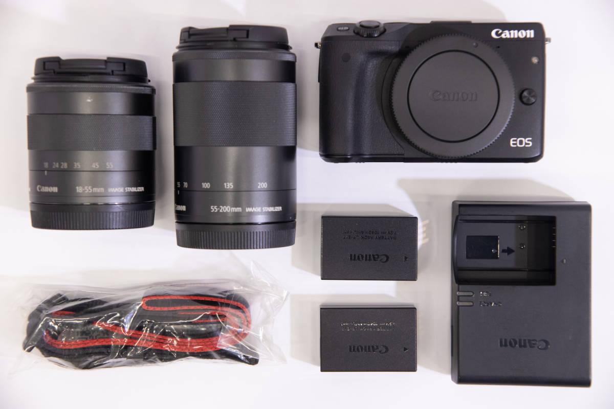 Canon キヤノン EOS M3 ブラックボディ +EF-M 18-55mm、EF-M 55-200mm 予備バッテリー付き 中古