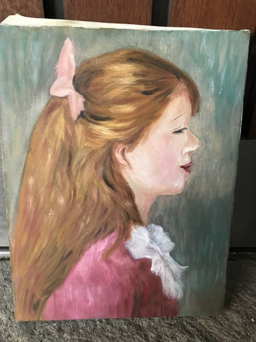 ★ 【作者不明】 美人画 少女画 人物画 油絵 油彩 直筆 肉筆 肖像画 骨董 F6 西洋 欧米 白人 インテリア
