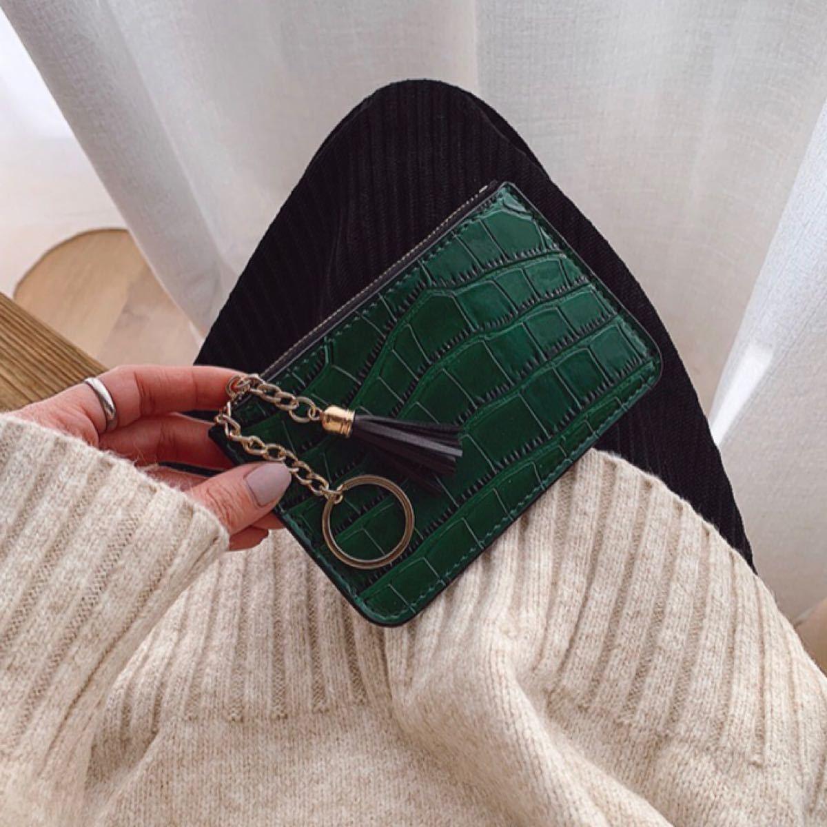 コインケース 小銭入れ カードケース コンパクト財布  ミニ財布 グリーン 新品