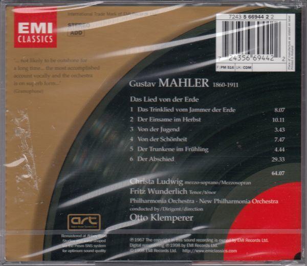 [CD/Emi]マーラー:交響曲「大地の歌」/C.ルートヴィヒ()ms&F.ヴンダーリヒ(t)&O.クレンペラー&フィルハーモニア管弦楽団他_画像2