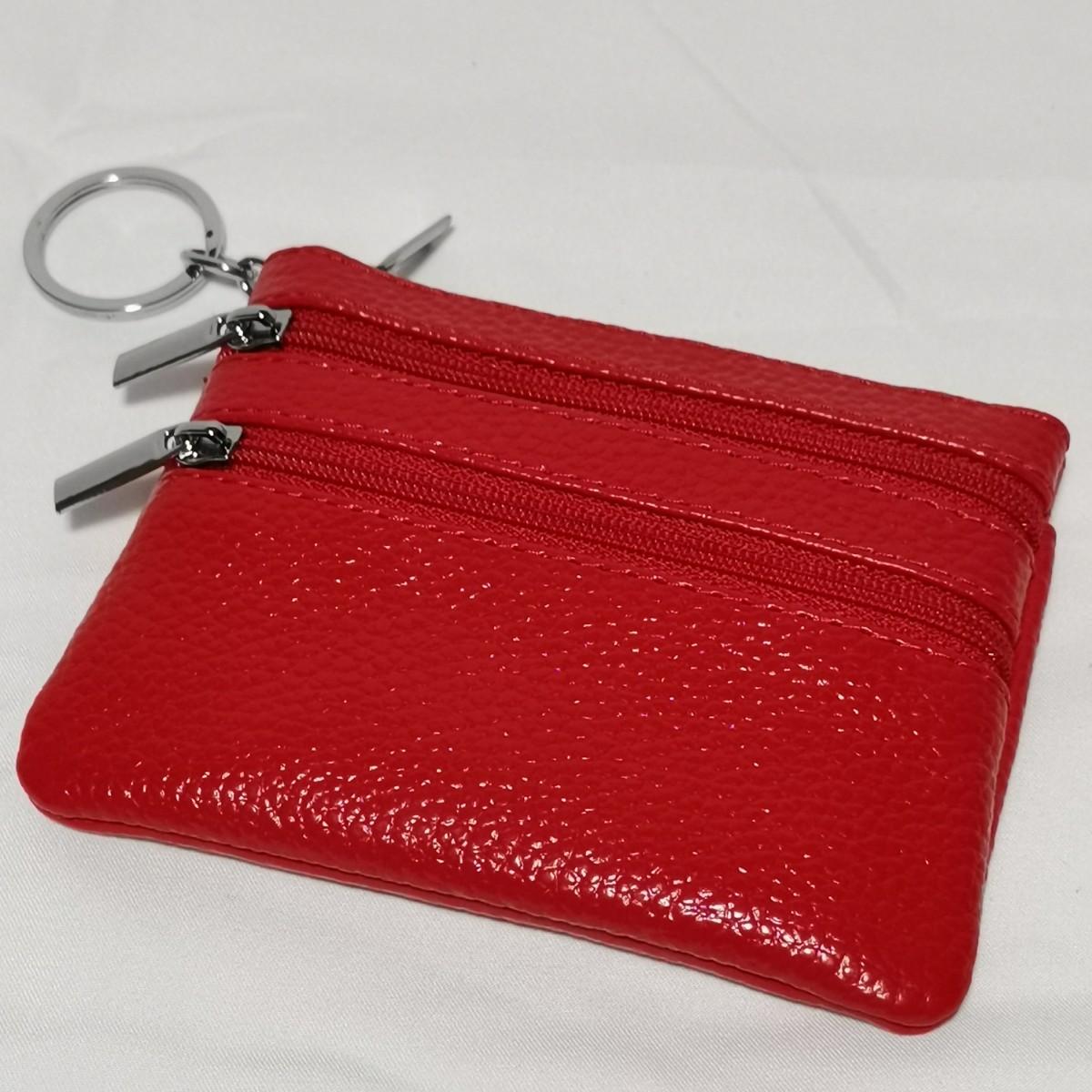 コインケース カード入れ ミニ財布 小銭入れ 赤1個