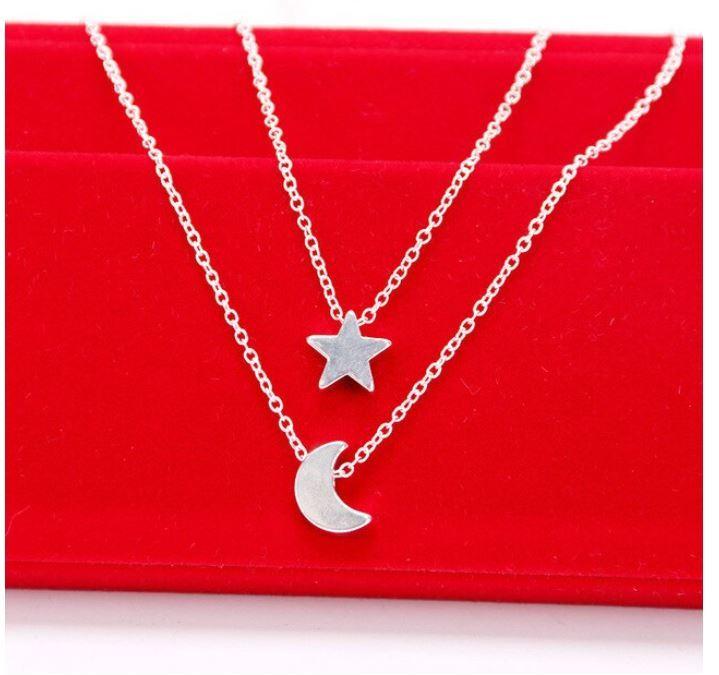 syo004 ゴールド シルバーのムーン二層チェーンペンダントネックレス ファッションジュエリー デートにもピッタリ 女性へのプレゼントに◎_画像2