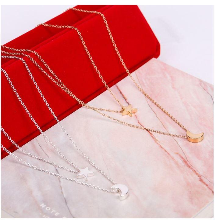 syo004 ゴールド シルバーのムーン二層チェーンペンダントネックレス ファッションジュエリー デートにもピッタリ 女性へのプレゼントに◎_画像5