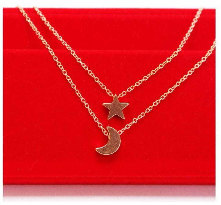 syo004 ゴールド シルバーのムーン二層チェーンペンダントネックレス ファッションジュエリー デートにもピッタリ 女性へのプレゼントに◎_画像1