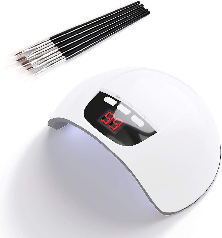YINGJEE ネイルドライヤー+ブラシ セット 硬化用UVライト 赤外線検知 36W自動センサー タイマー機能 ジェルネイル ネイルポリッシュ レジン_画像1