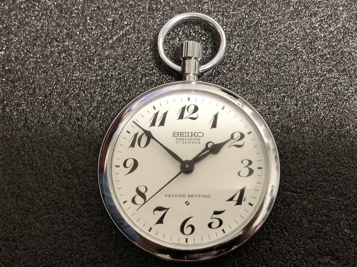 鉄道時計 セイコー SEIKO PRECISION 懐中時計 21石 手巻き 6110-0010 稼働品