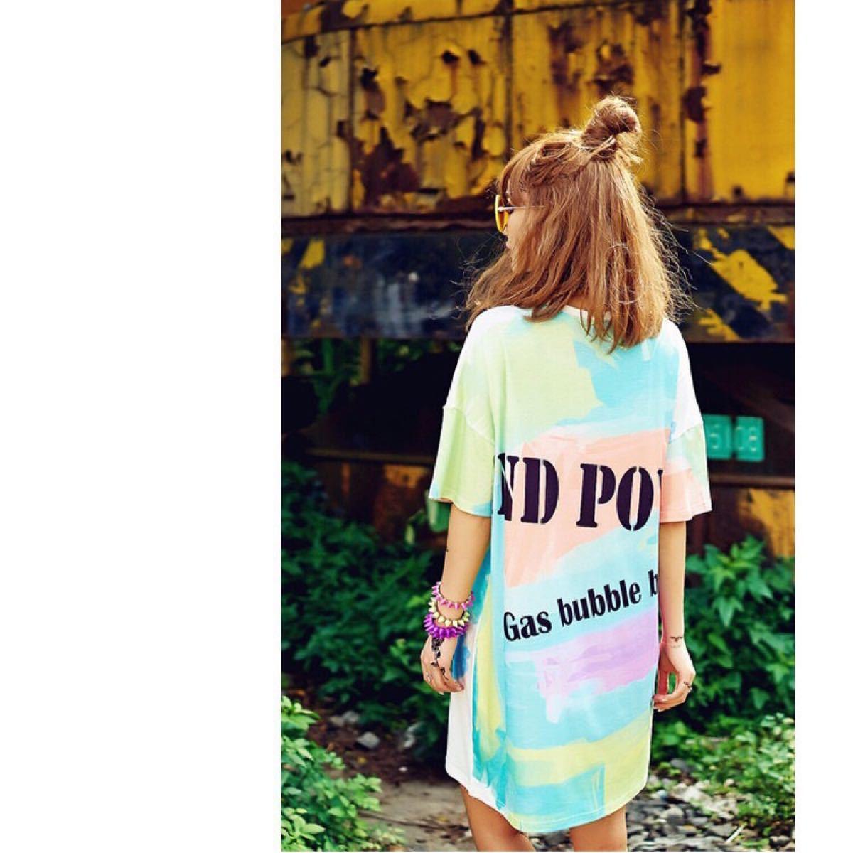 Tシャツ ビッグシルエット タイダイ柄 トップス チュニック 半袖 カットソー