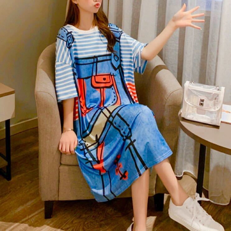 チュニック オーバーオール プリント シャツワンピース ワンピース Tシャツ 韓国 オルチャン 半袖 ボーダー 可愛い おしゃれ 体型カバー