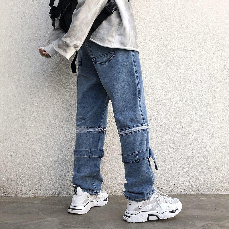 デニム ワイドパンツ ストリート ジップ ワイドデニム ジーンズ ワイドレッグパンツ 韓国 ストリート メンズ レディース 原宿 インディゴ