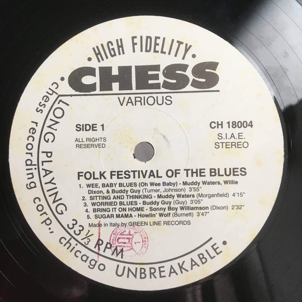 J0208 LPレコード Muddy Waters, Buddy Guy, Howlin' Wolf, Sonny Boy Williamson Folk Festival Of The Blues CH 18004_画像3