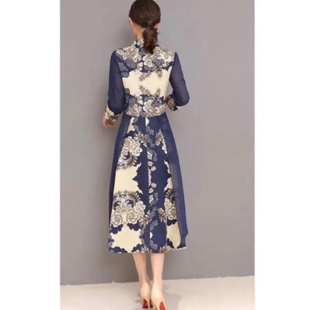 民族衣装 綿チャイナドレス 花柄 フレアワンピース